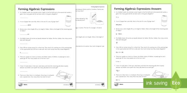 Writing Algebraic Expressions Worksheet   Math Resource ...