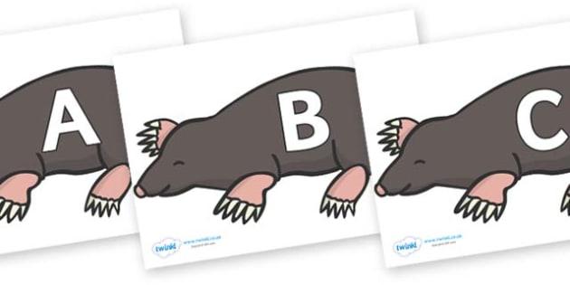 A-Z Alphabet on Moles - A-Z, A4, display, Alphabet frieze, Display letters, Letter posters, A-Z letters, Alphabet flashcards