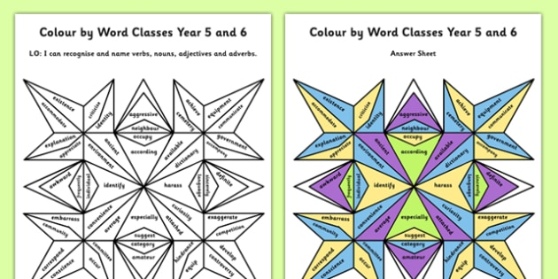 Year 5 and 6 Colour by Word Class - colour, word, class, colouring, verbs, nouns