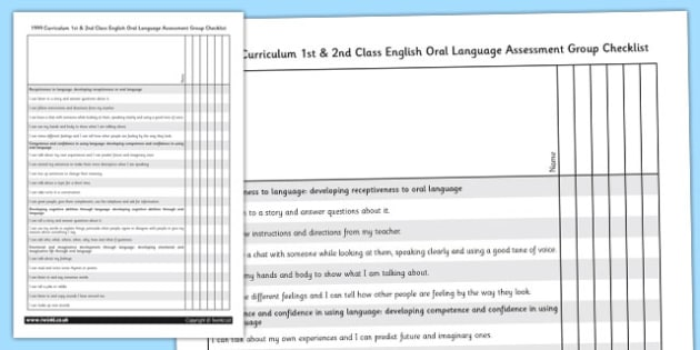 1999 Curriculum 1st & 2nd Class English Oral Language Assessment Group Checklist - Ireland, Irish, speaking and listening