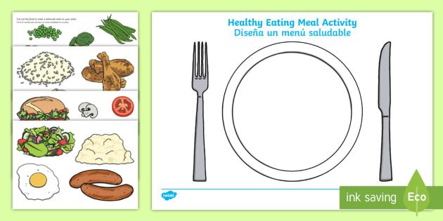 Healthy Eating Meal Worksheet / Worksheet English/Spanish