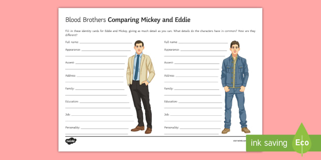 blood brothers eddie and mickey comparison la worksheet  blood brothers eddie and mickey comparison la worksheet activity sheet blood brothers willy