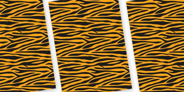 Tiger Themed Pattern A4 Sheets - safari, safari animal themed sheets, tiger pattern sheets, tiger sheets, tiger a4 sheets, animal patterns, tiger coat