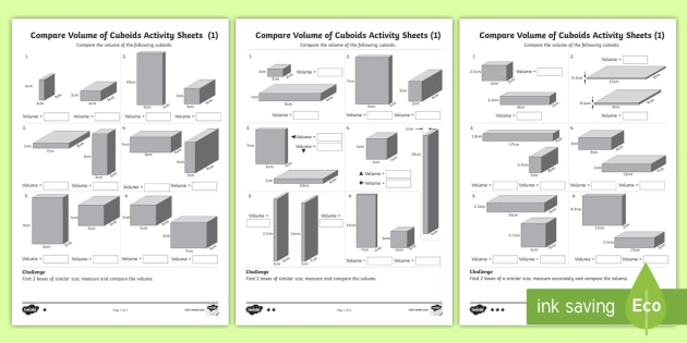 Year 6 Compare Volume of Cuboids Differentiated Worksheet ...