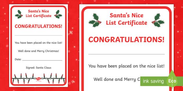 NEW Santas Nice List Certificate