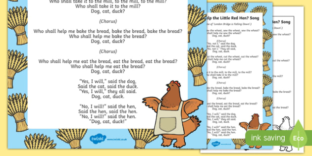 Who Shall Help the Little Red Hen? Song