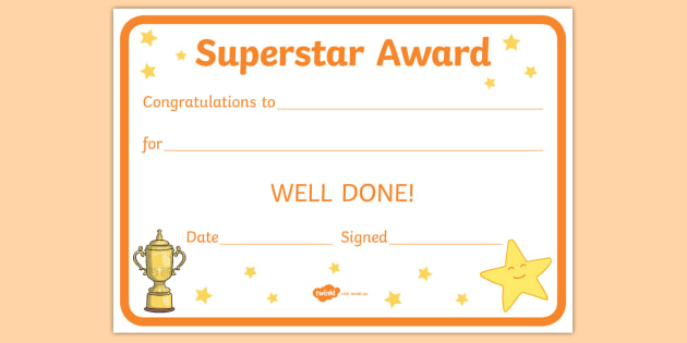 superstar award certificates behaviour management certificate