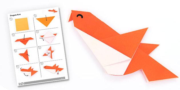 Origami Bird Activity - origami, bird, activity, paper, craft