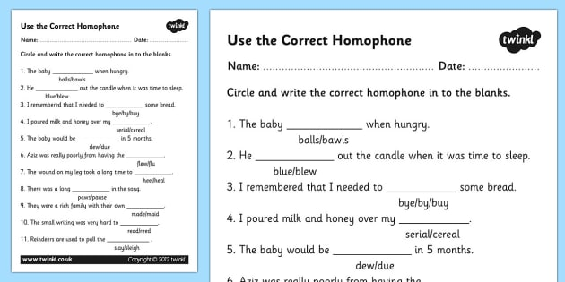 Homophones Worksheet - homophones, homophone worksheet, basic