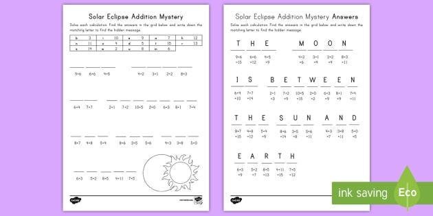 Solar Eclipse Addition Mystery Activity Sheet - Solar Eclipse 2017, earth moon and sun, solar eclipse science, adding, problems, worksheet