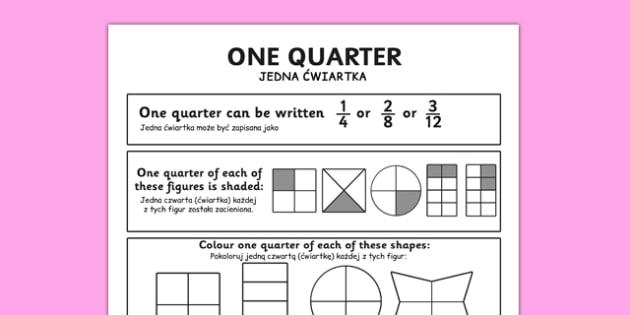 Fractions Quarter Worksheet Polish Translation - polish, numeracy, place value, maths, math