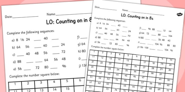 Counting in 8s Worksheet - counting, worksheet, 8, numbers, math
