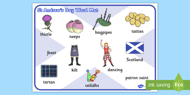 St Andrews Day Word Mat - word, mat, st andrew, day, word mat