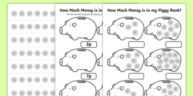 how much money is in my piggy bank 1p worksheet maths. Black Bedroom Furniture Sets. Home Design Ideas