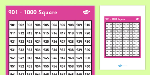901-1000 Square - 901, 1000, square, number, number square, maths, numeracy