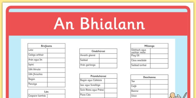 An Bhialann The Restaurant Role Play Waiters Checklist Irish Gaeilge - restaurant, bialann, an bhialann, food, bia, role play, Aistear, menu, display, resource pack, irish, gaeilge, comhra, waiters checklist