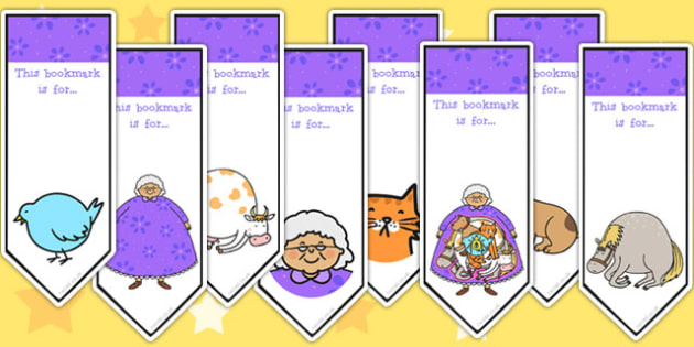 There Was an Old Lady Who Swallowed a Fly Editable Bookmarks