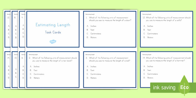 Estimating Length Task Cards - Common Core, Second Grade, Measurement, Length, Estimating