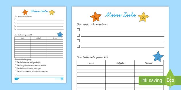 Meine Ziele für die Freiarbeit Arbeitsblatt - DE