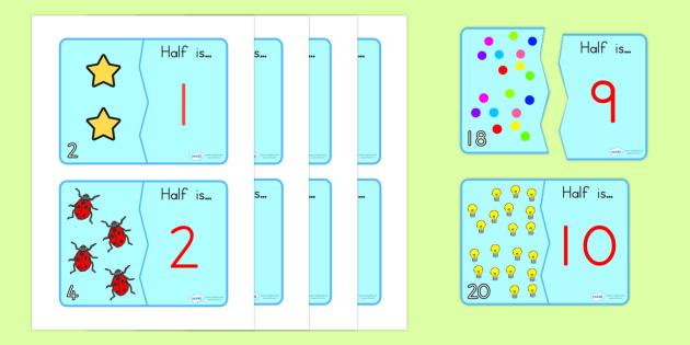 Halving Matching Jigsaw Cards - halving, matching, maths, games