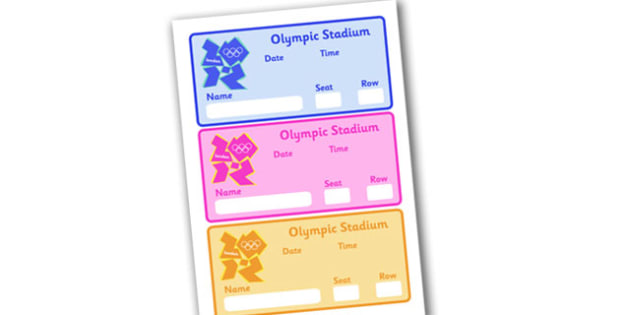 The Olympic Editable Games Tickets - Olympics, Olympic Games, sports, Olympic, London, 2012, game tickets, ticket, stadium, entry, activity, Olympic torch, flag, countries, medal, Olympic Rings, mascots, flame, compete, tennis, athlete, swimming, rac