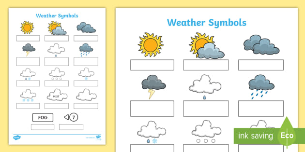 Weather Symbols Worksheet Science Resource Twinkl