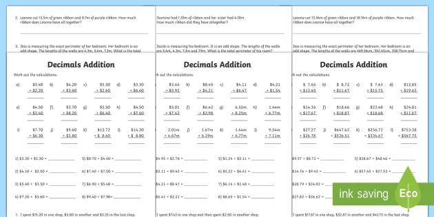 Decimals Addition Worksheet / Worksheet - year 5, year 6 ...