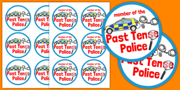 Past Tense Police Badges - past tense, police, badges, role-play, past, tense