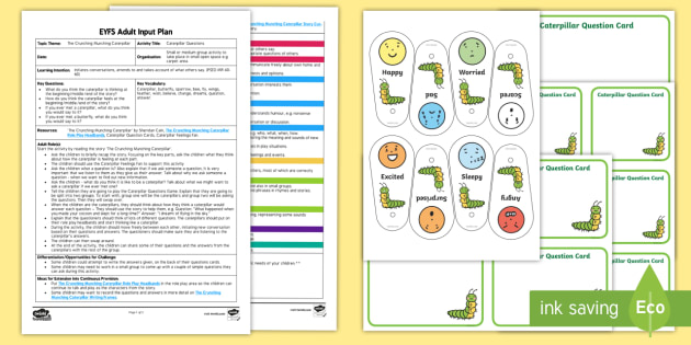 EYFS Caterpillar Questioning Adult Input Plan and Resource Pack - The Crunching Munching Caterpillar, Sheridan Cain, life cycle of a butterfly, questions, answers AIP