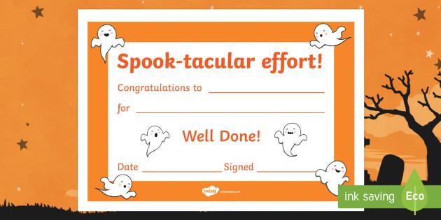 Spook-tacular Effort Halloween Certificate