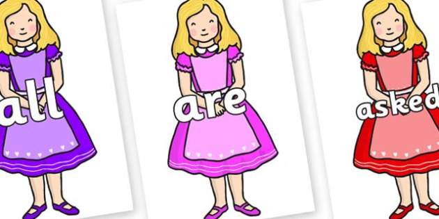 Tricky Words on Alice - Tricky words, DfES Letters and Sounds, Letters and sounds, display, words