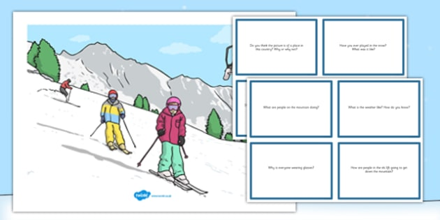 Winter Sports Scene and Question Cards - winter sports, scene, questions, cards