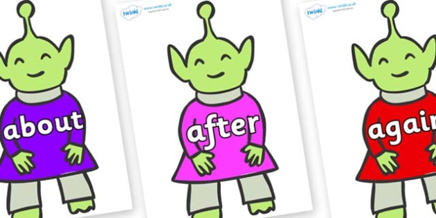 KS1 Keywords on Aliens - KS1, CLL, Communication language and literacy, Display, Key words, high frequency words, foundation stage literacy, DfES Letters and Sounds, Letters and Sounds, spelling