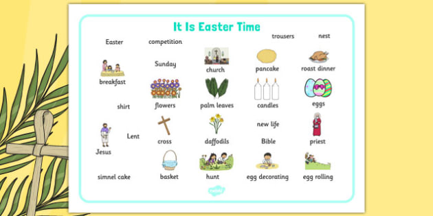 It Is Easter Time Word Mat - EYFS, KS1, Early Years, festival, celebration, Understanding the World, Literacy, Christianity