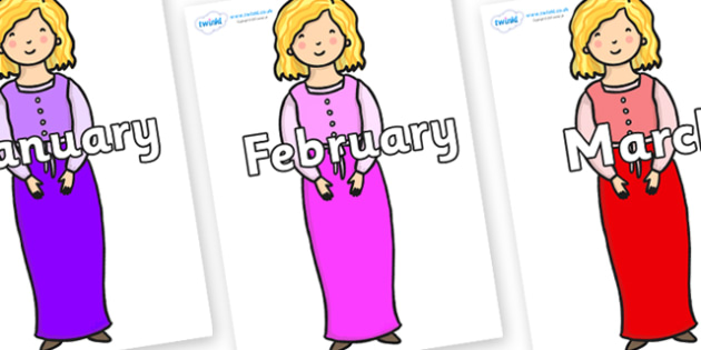 Months of the Year on Rapunzel Short Hair - Months of the Year, Months poster, Months display, display, poster, frieze, Months, month, January, February, March, April, May, June, July, August, September