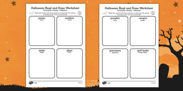 Halloween Read and Draw Worksheet Polish Translation - polish, halloween, hallowe'en, read, draw, worksheet