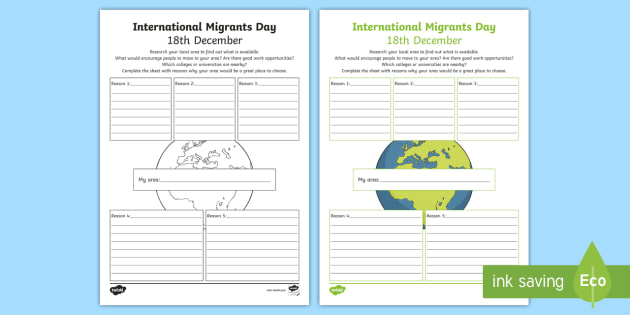 International Migrants Day My Local Area Worksheet Activity
