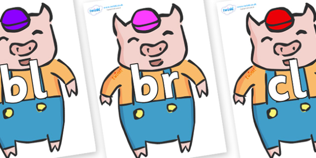 Initial Letter Blends on Little Pig - Initial Letters, initial letter, letter blend, letter blends, consonant, consonants, digraph, trigraph, literacy, alphabet, letters, foundation stage literacy