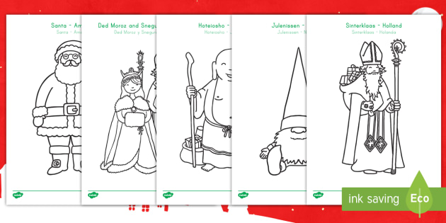 santa around the world coloring sheets us englishspanish latin christmas