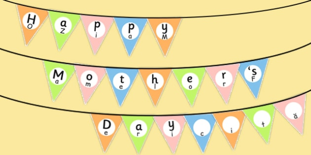 Happy Mother's Day Bunting Romanian Translation - romanian, mothers day, bunting, display, happy