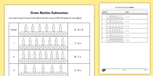Green Bottles Subtraction - green bottles, subtraction, green, bottles, numeracy