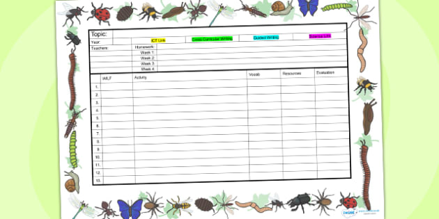 Minibeasts Themed Editable Mid Term Planning Template - plans