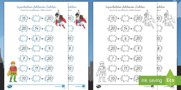 Superhelden Addition fehlende Zahlen Arbeitsblätter - Addition