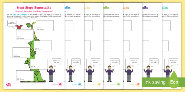 EYFS Next Steps Beanstalks Progress Sheets - EYFS, Early Years, Next