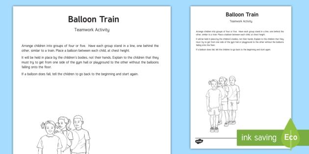 Balloon Train Team Building Game Pe Gym Activity Teamwork