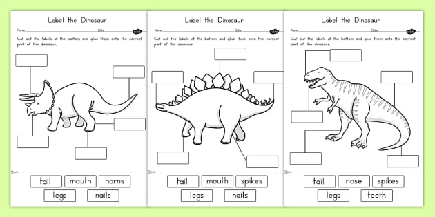Worksheets For Dinosaurs : Label the dinosaur worksheets australia