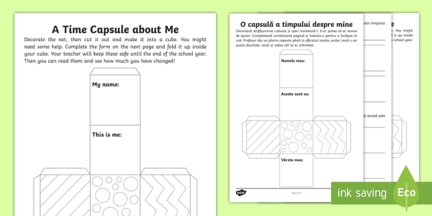 new ks1 a time capsule about me activity sheet. Black Bedroom Furniture Sets. Home Design Ideas