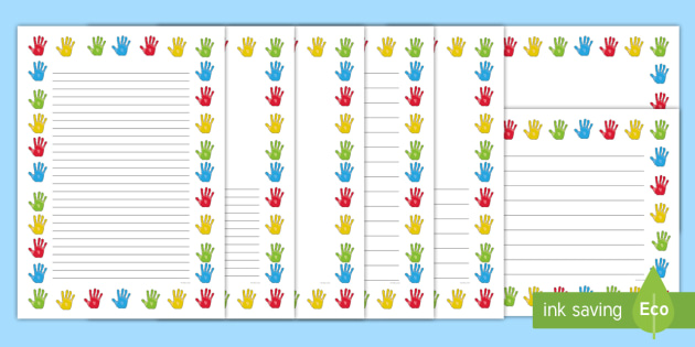 Multicolour Handprint Page Borders - ourselves, writing templates