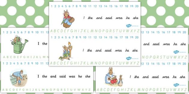 The Tale of Peter Rabbit Combined Number and Alphabet Strips