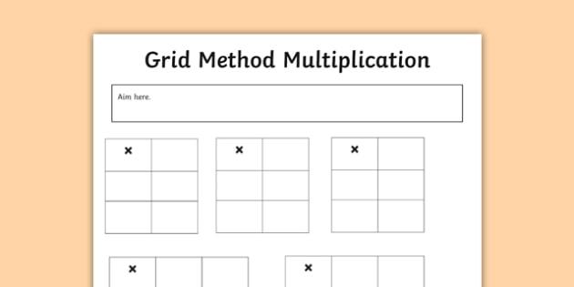 Editable Grid Method Multiplication Grids Maths Calculation